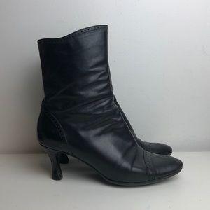 Vintage Giorgio Armani black leather granny boots